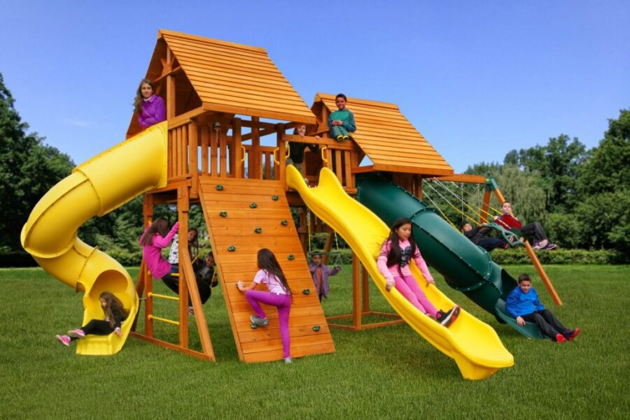 Fantasy Swing Set #5 with Wood Roofs, Gang Plank, Built in Picnic Table and 14' Scoop Slide