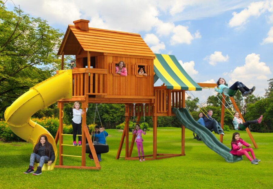 Customized Fantasy Tree House Play Set with 7' Spiral Slide