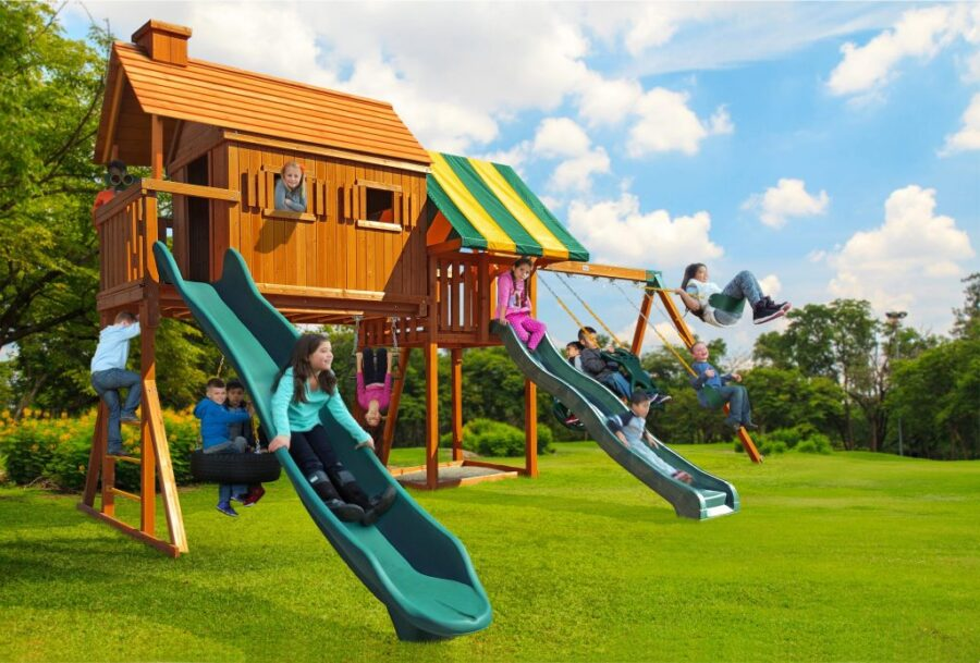 Customized Fantasy Tree House Play Set with 14' Scoop Slide