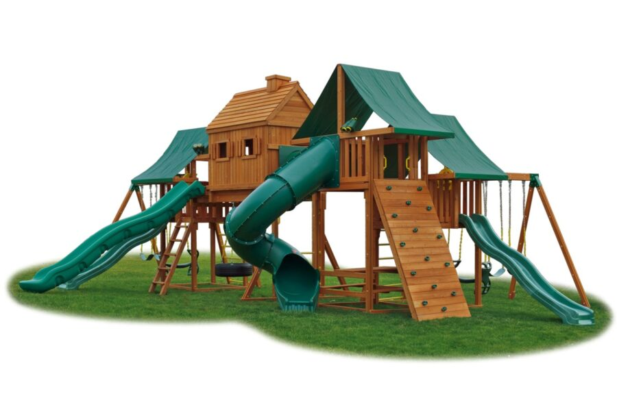 Imagination #2 with rock wall, 2 wave slides, super scoop, closed spiral, picnic table, and more
