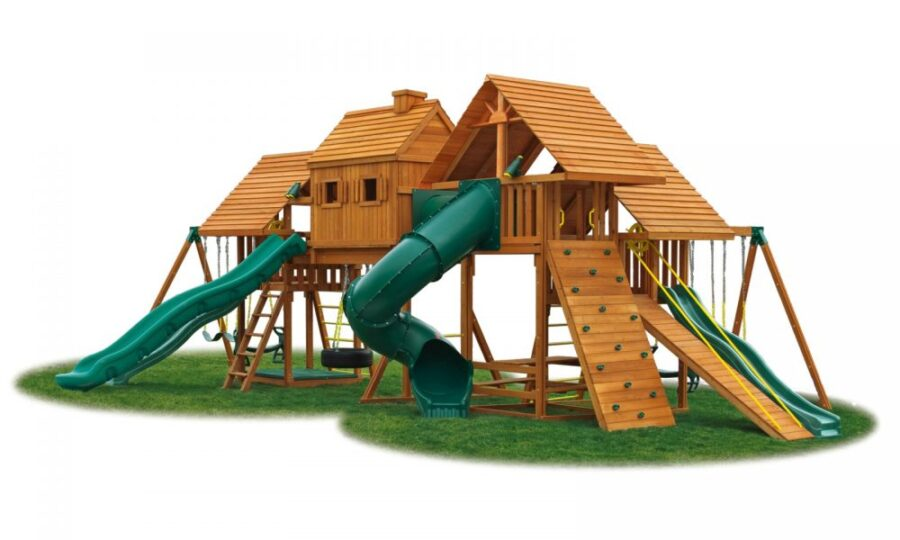 Imagination #3 with 4 swings, gang plank, step ladder, rock wall, 4 slides and more