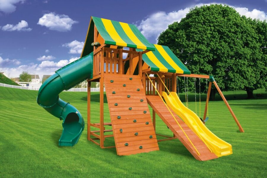 Customized Sky Play Set with Gang Plank and Built in Picnic Table