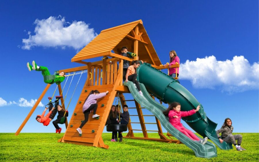 Customized Supreme Play Set with Wood Roof and 5' Spiral Slide