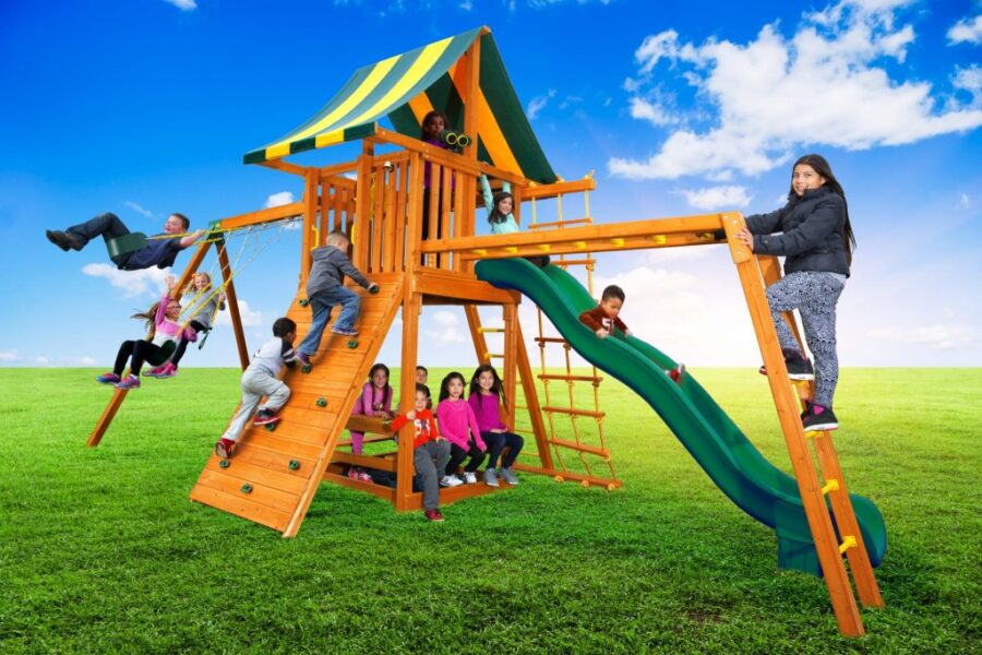 Ultimate Swing set with Monkey Bars & Built in Picnic Table