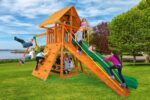 Ultimate Swing Set with Wood Roof, Gang Plank & Built in Picnic Table