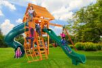 Ultimate Swing Set with Wood Roof, Closed Spiral Slide, Wave Slide & Built in Picnic Table